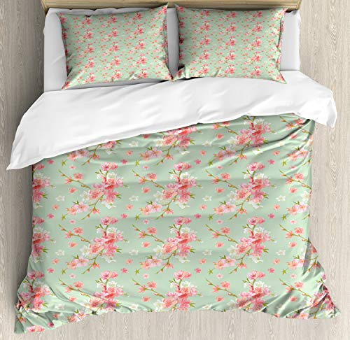 ABAKUHAUS Shabby Flora Funda Nórdica, Retro Flores de la Primavera, Estampado Lavable, 3 Piezas con 2 Fundas de Almohada, 230 cm x 220 cm, Mint Rosa