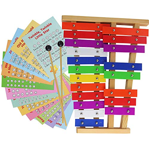20 Note Chromatic Glockenspiel - Metal Xylophone - Sheet Music Cards with Songs