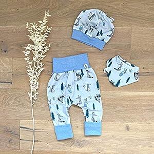 ANGEBOT Set – Hose, Mütze, Halstuch – Herbst Waldtiere (Blau Melange) Baby Junge