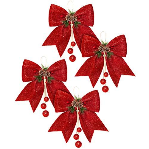 Kousa Weihnachtsschleife, rote Kränze, Schleifen, 4 Stück, große Weihnachtsbaum-Schleife, Pailletten-Fliege für Zuhause, Ornament, Dekoration