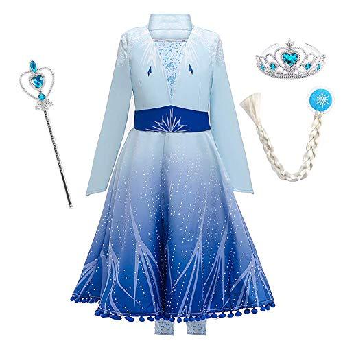 IBTOM CASTLE - Disfraz infantil de princesa Rapunzel largo vestido de fiesta para carnaval fiesta de dama de honor, vestido de fiesta de cumpleaos, talla 98-140 azul Elsa 4-5 Aos