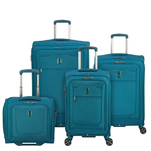 DELSEY Paris Hyperglide Softside Expandable Luggage with Spinner Wheels, Teal Blue, 4-Piece Set (21/25/29/Garment)