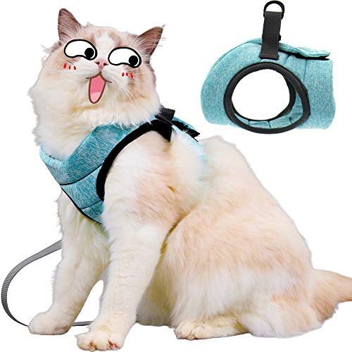 Diizeco Soft Cat Harness and Leash Set for Walking Escape Proof Adjustable and Comfortable Kitten Vest Harness Breathable Cat Outdoor Walking Jacket and Collar for Small Medium Large Cats Kitten