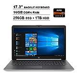 2020 Newest HP Pavilion 17.3 Inch Touchscreen Laptop (AMD 4-Cores Ryzen 5 3500U up to 3.7 GHz, AMD Radeon Vega 8, 16GBDDR4 RAM, 256GB SSD (Boot) + 1TB HDD, Backlit KB, DVDRW, WiFi, HDMI, Windows 10)