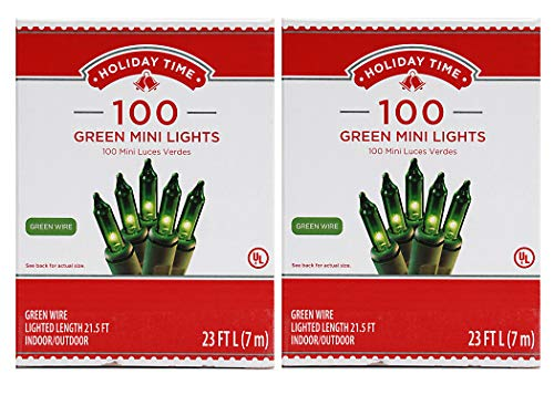 Holiday Time 100 Green Mini Lights - Green Wire (2 Pk)