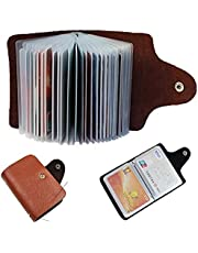 GreatDio Leather Credit Card Holder/Business Card Holder/ATM Card Holder for Women Men- Holds 24 Cards (Brown)
