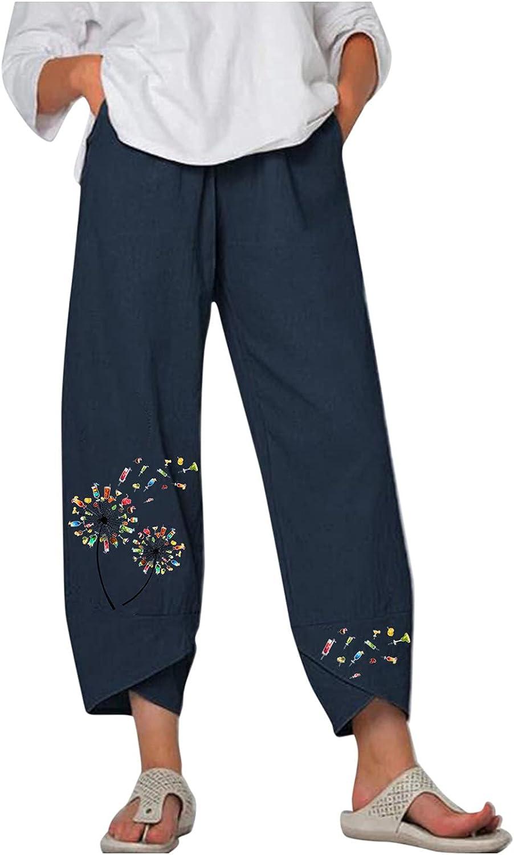 Wabtum Women Cotton Linen High material Pants Elastic Ranking TOP9 Printing Waist Dandelion