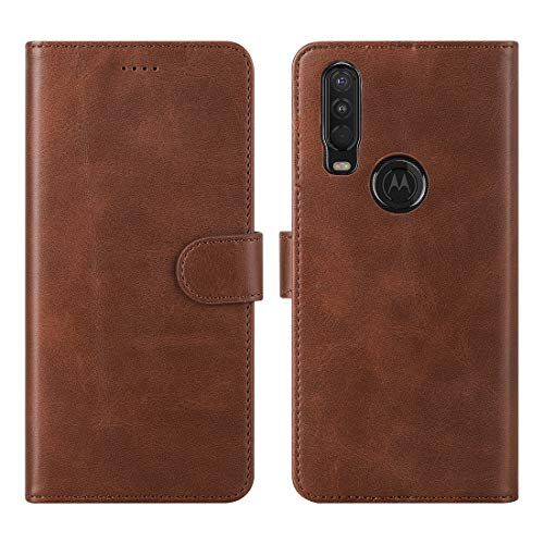 Feitenn Moto One Action Case, Motorola One Action Wallet Case, PU Leather Folio Flip Slim Cover Kiackstand Card Holders TPU Magnetic Closure Bumper Drop Shockproof Shell for Moto One Action - Brown