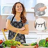 adakel 3 Stücke Wasserdicht Schürze, Kochschürze mit Taschen, Verstellbarem Küchenschürze Grillschürze latzschürze für Damen und Männer - 4