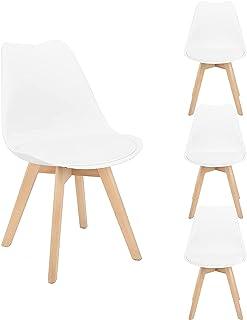 Lot de 4 chaises de salle à manger, cuisine, bar, en forme de tulipe, assise avec pieds en bois de hêtre pour bureau, chai...