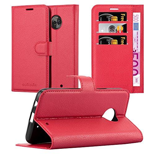 Cadorabo Hülle für Motorola Moto X4 - Hülle in Karmin ROT – Handyhülle mit Kartenfach & Standfunktion - Case Cover Schutzhülle Etui Tasche Book Klapp Style