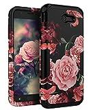 TIANLI Samsung Galaxy J7 2017 Case Shock Absorption Protective for Galaxy J7 2017/J7 V/J7 Sky Pro/J7 Perx/J7V 2017/J7 Prime/Halo,Floral Black
