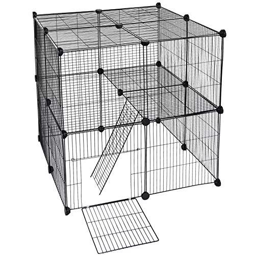 EUGAD 0011WL Freigehege DIY Laufstall Laufgitter Welpenauslauf Katzenkäfig Kleintiere wie Hase Kaninchen Meerschweinchen 75x83x35cm