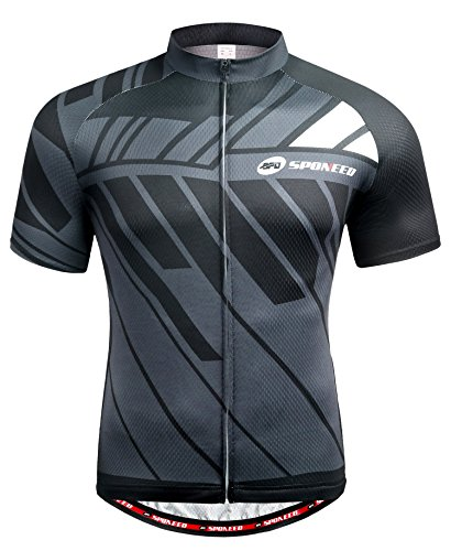 sponeed Bicycle Mens Jersey Cycle Short Sleeve Jackets Biker Shirt Tops Full Zipper US XL Multi