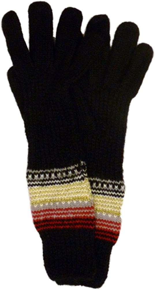 Fownes Womens Long Black Knit Gloves Red & Gray Stripes