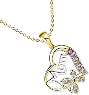 14k Two Tone Yellow Gold White #1 Mom Heart Pendant Charm Necklace Love Fine Jewelry For Women Gifts For Her