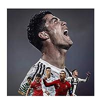 Yxbhhym レトロサッカースポーツスーパースタークリスティアーノロナウドCR7ポスタープリントキャンバス絵画室壁アート写真家の装飾モダン-50x50cmフレームなし