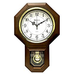 Timekeeper Essex Westminster Chime Faux Wood Pendulum Wall Clock, 17.5 x 11.25, Walnut