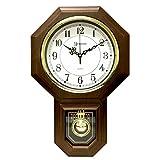 Timekeeper Essex Westminster Chime Faux Wood Pendulum Wall Clock, 17.5' x 11.25', Walnut