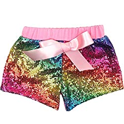 Rainbow-B Short Sequin Pants with Bow