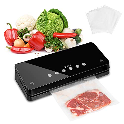 BKEJOY Vacuum Sealer Machine, Automatic Vacuum Sealer for Food Savers Air Sealing System for Food Savers w/Starter Kit   Led Indicator Lights  Compact Design  Dry & Moist Food Modes