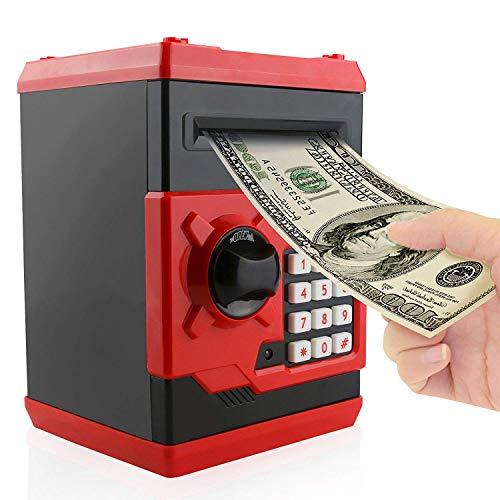 PowerKing Hucha, Caja de Ahorro Segura de Hucha de cajero automático de Dibujos Animados electrónica - Caja de Monedas de contraseña de Ahorro de Dinero del Banco de Dinero para niños (ATM Rojo)