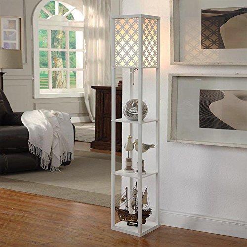 TrekCovers Stehlampe mit Regalen, Persönlichkeit und Kreativität Wohnzimmer Schlafzimmer Büro Nachttischlampe Europäischen Augenschutz Leselampe, Hauptdekoration Schwarz (Color : White)