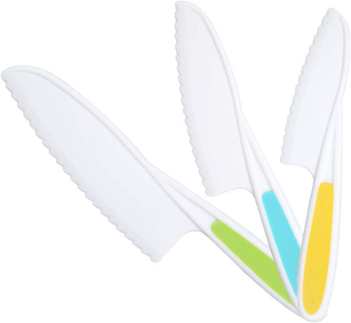 WIXe 3-Piece Child-Safe Mesa Mall Kitchen Knife Max 75% OFF Ch Children's Plastic Set
