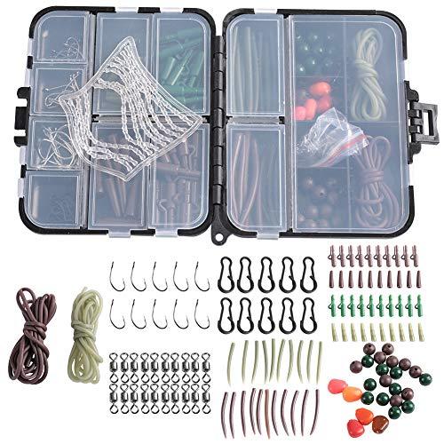 Caja de Aparejos de Pesca de Carpa Kit de Aparejos de Pesca de Carpa Caja Kit de Accesorios de Pesca Que Incluye anzuelos giratorios Mangas Cuentas Suaves Tubos Clips