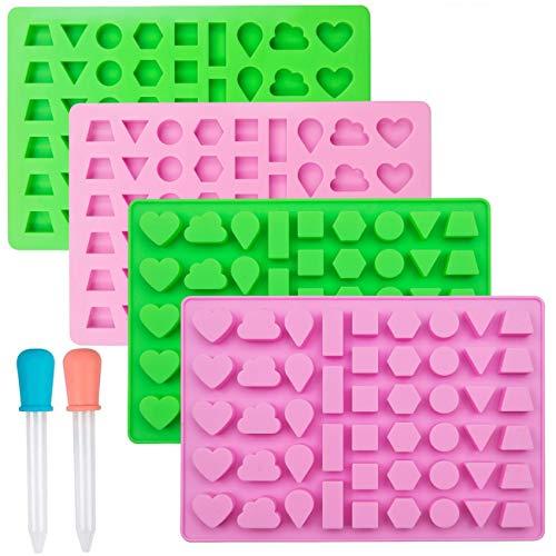 Sakolla - Moldes para golosinas con forma geométrica, 4 unidades, rectangulares, cuadrados, triangulares, redondos, pequeños círculos, de silicona para chocolate con 2 cuentagotas