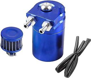 300ml Aluminium Oil Catch Can Auto Reservoir Tank Universal Air Oil Seperator mit Luftfilter, Schlauch und sonstiges Zubehör (Blue)