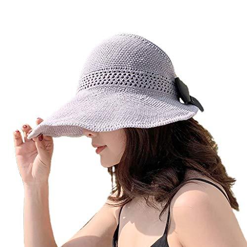 XuHang - Gorra de malla tejida para mujer, diseño de lazo, parte superior enrollable, con borde ancho, protección UV, para viajes, para deportes al aire libre, regalos, Mujer, gris, GY