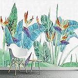 Carta da parati nordica con foglie di banano e fiori Tv Sfondo Carta da parati Poster Foto Parete fotomurali poster murale Soggiorno camera letto minimalista tv sfondo-400cm×280cm