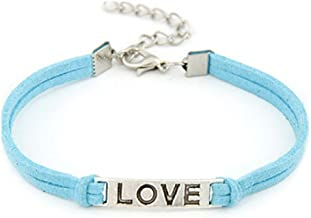 WoCoo Simplicity Handmade Alloy Solid Color Rope Charm Weave Bracelet(Blue)