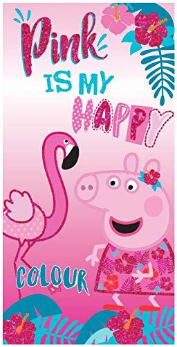 Various Toalla de Playa Infantil con Licencia Oficial Disney (Peppa Pig y Flamenco)