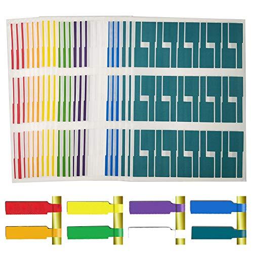 EtiquetasCables,720 Piezas IdentificadordeCables, Etiqueta del Cable Adhesivas Pegatinas Autoadhesivo Impermeable,Resistente al Desgarro(24 hojas 8 Colores Variados)