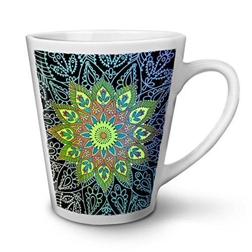 Wellcoda Indien Schamane Mandala Latte BecherHarmonie Kaffeetasse - Komfortabler Griff, Zweiseitiger Druck, robuste Keramik