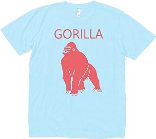 【ノーブランド品】 おもしろ デザイン GORILLA ゴリラ Tシャツ 水色 MLサイズ