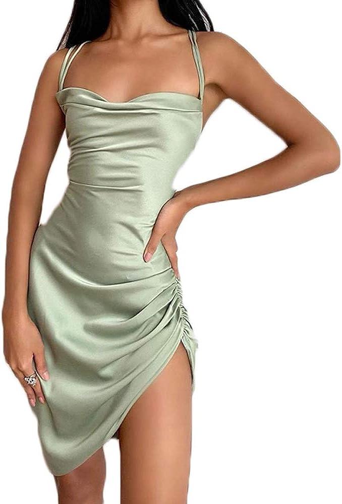 Sexy Women Spagetti Straps Y2K Silk Lace Floral Mini Dress Bodycon Split 90s E-Girl Mini Club Party Dress