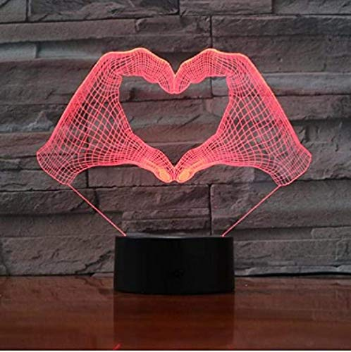 3D LED Lamp for Kids Love Heart Hand Gesture Color Led Night Lamps for Led USB Table Lampara Lampe Baby Sleeping Nightlight Drop Ship Birthday and Holidayfor Children