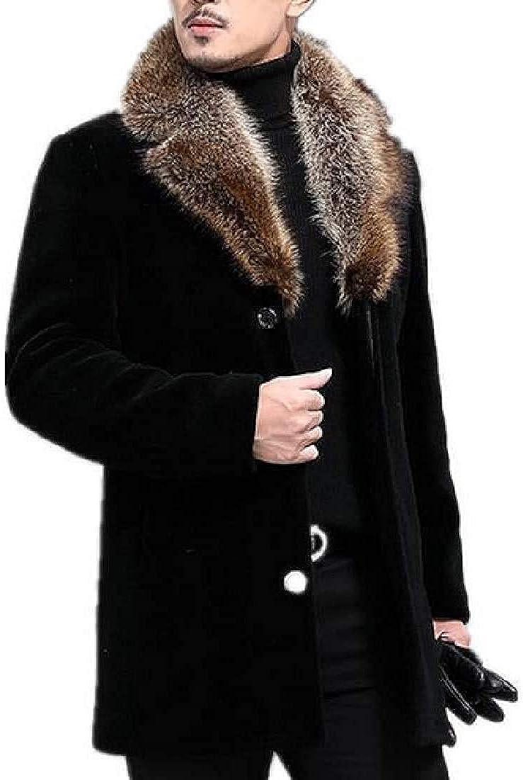 Men Trenchcoat Thick Overcoat Wool Blend Long Jacket Faux Fur Collar Top Coat