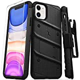 Zizo Bolt Cover - Case for iPhone 11 with Military Grade + Glass Screen Protector & Kickstand and Holster (Black