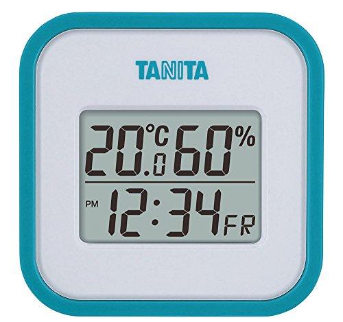 タニタ 温湿度計 温度 湿度 デジタル 壁掛け 時計付き 卓上 マグネット ブルー TT-558 BL