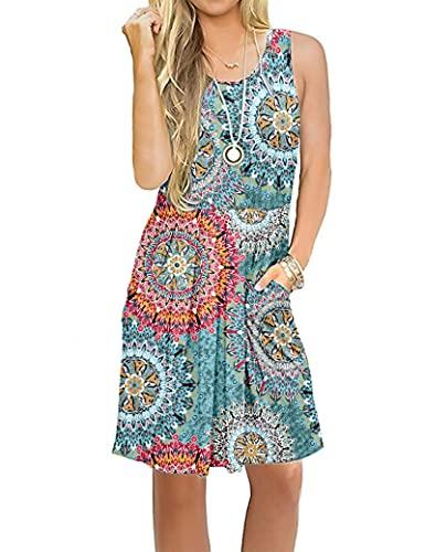 AUSELILY Damska sukienka bez rękawów plisowana luźna Swing z kieszeniami do kolan, Zielony nadruk, M