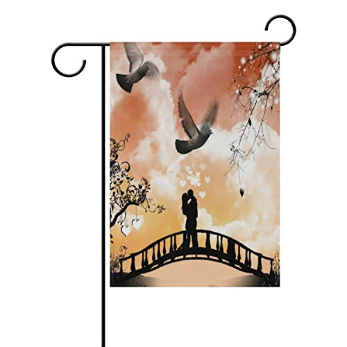 LIANCHENYI Spring Love Couple Kissing on Bridge doppelseitig Familie Flagge Polyester Outdoor Flagge Home Party Decro Garten Flagge 71,1x 101,6cm