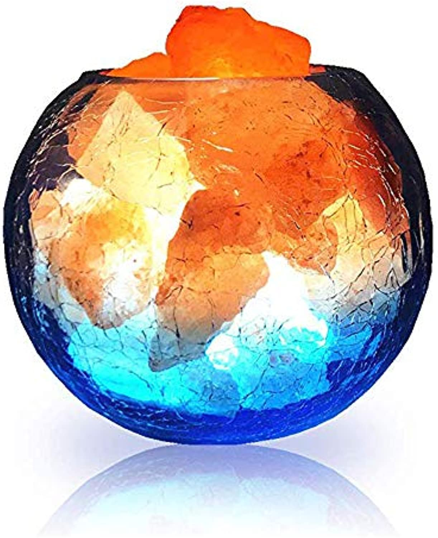 ZSH Natürliche Himalayakristall-Salzlampe - USB Natursalz-Kristall-groer Streifen-Innendekoration-Dimmschalter Weiche warme gesunde Negative Ionenluftreinigungslampe, Tischlampe