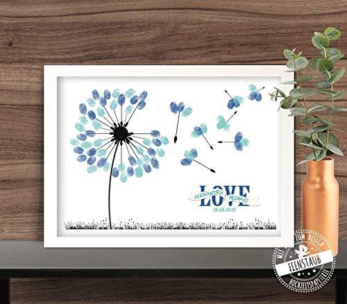 Wedding-Tree Pusteblume für Fingerabdrücke, Gästebuch-idee Leinwand zur Hochzeit viele Größen