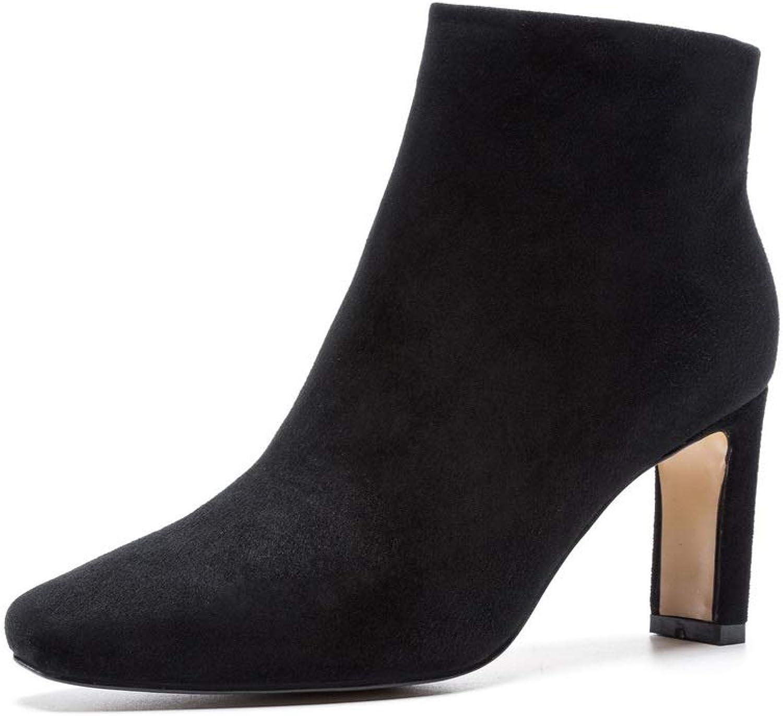 AdeeSu Womens Bucket-Style High-Heels Solid Urethane Boots SXE04828