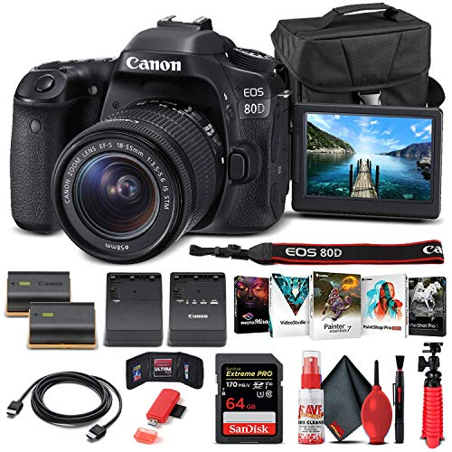 Canon EOS 80D DSLR Camera with 18-55mm Lens (1263C005) + 64GB Memory Card + Case + Corel Photo Software + LPE6 Battery + External Charger + Card Reader + HDMI Cable + Cleaning Set + More (Renewed)