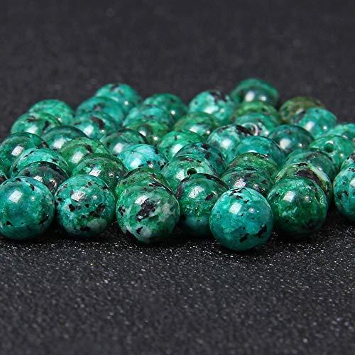KUQIQI 8 mm Hierba Verde Negro Granito Jaspers Piedra Perlas de Piedra pulidas Redondas Perlas Sueltas para joyería Haciendo Collar de Pulsera